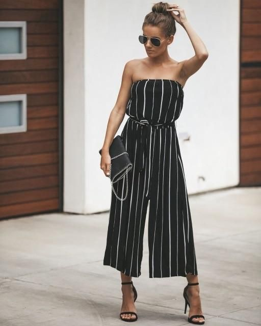 34840a15202 2018 Elegant Striped Sexy Rompers Women Bandeau Jumpsuit Sleeveless  Strapless Backless Casual Wide legs Playsuits Bodysuits