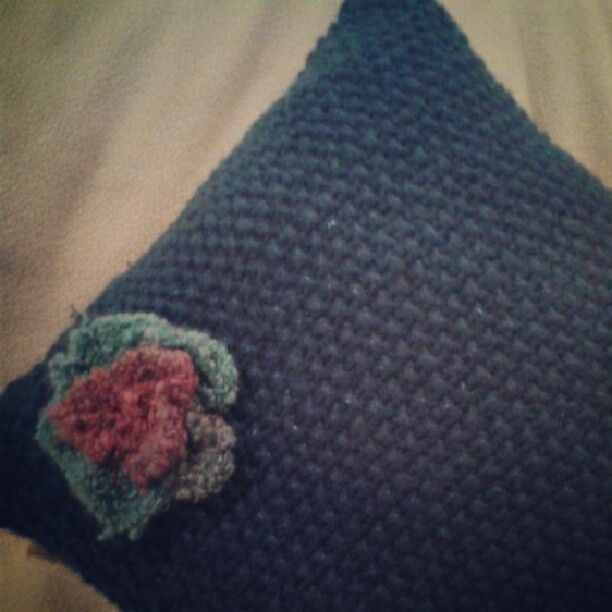More craft joy - Isla's cushion finished (complete with knitted rose).