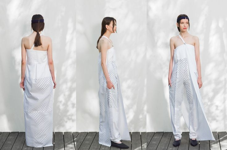 The dynamics of modern metropolises and the freedom in getting around inspired her debut collection. Clothes from the debut collection are decorated in shades of navy and blue, often accompanied by reflectors that not only fulfill a practical traffic safety role but are also an element that emphasises the construction of the clothing. The collection is accompanied by accessories made from the scrap materials. photos by Szymon Szcześniak