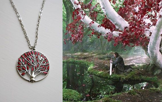 Heart Tree Necklace Game of Thrones Jewellery Summer Special Long Necklace Godswood Weirwood Hand Painted on Etsy, $13.33