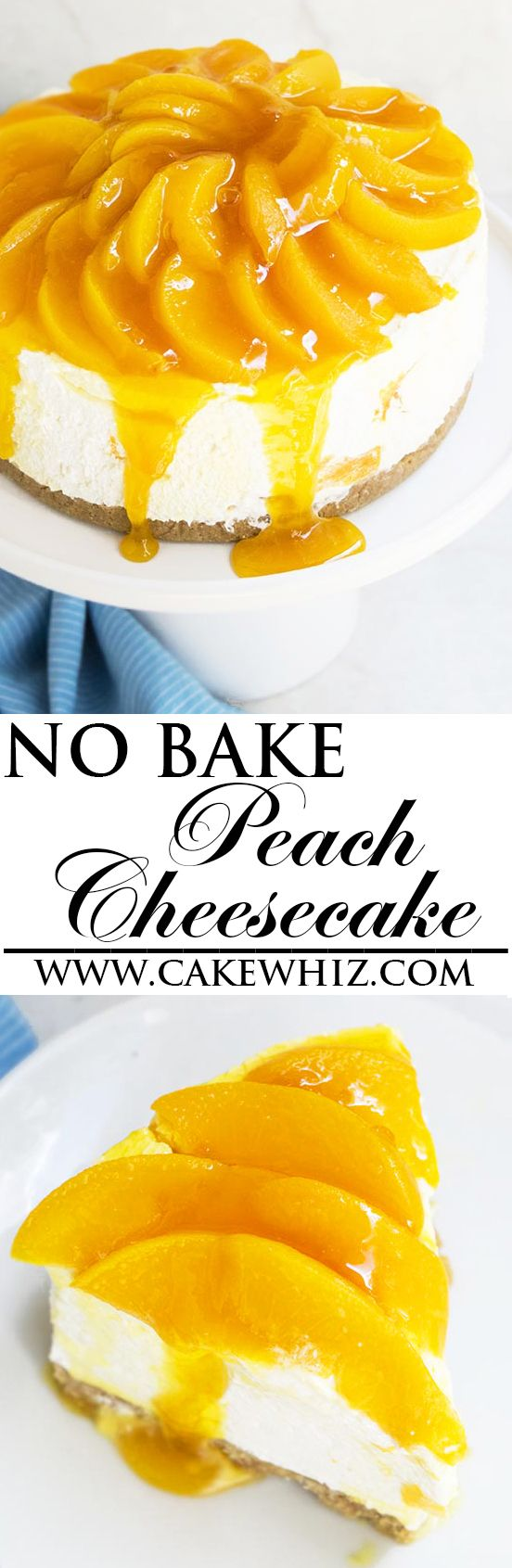 This easy no bake PEACH CHEESECAKE recipe is so rich and creamy. Made with simple ingredients that you already have in your pantry. This peaches and cream cheesecake is the perfect dessert for peach season! From cakewhiz.com: