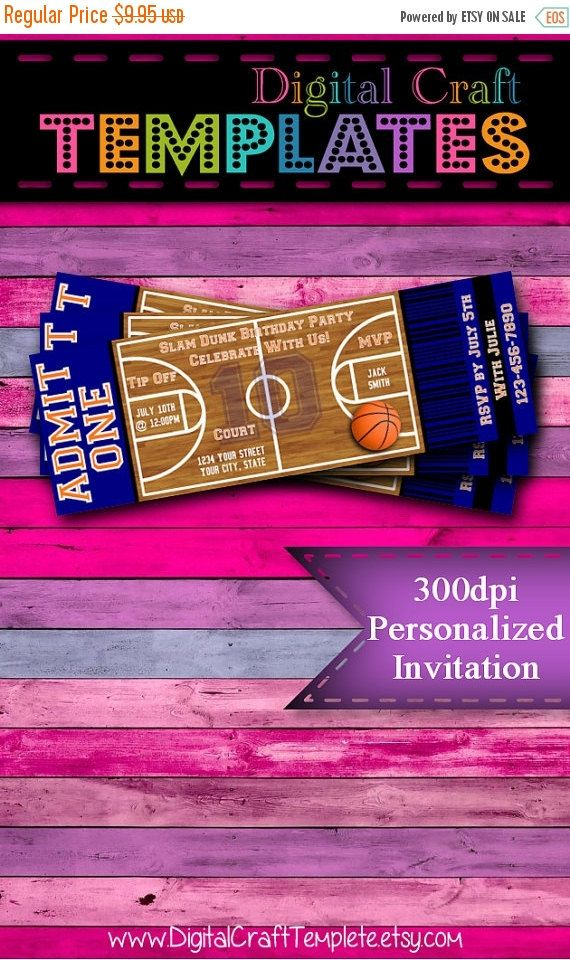 """ON SALE Personalized Printable Invitations   Sports Party   Basketball   2""""x6"""" Ticket Invitation   Birthday Party   #305"""
