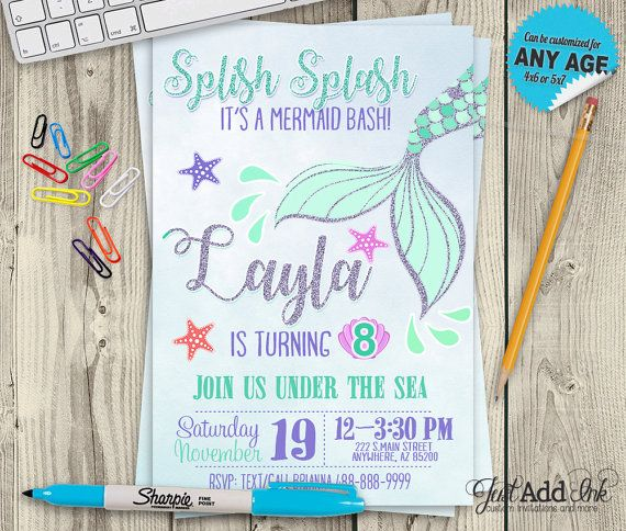 Mermaid Birthday Theme Invitation - DIY Printable Mermaid Party Birthday Invite - Under The Sea Invite by justaddinkcreatives. Explore more products on http://justaddinkcreatives.etsy.com