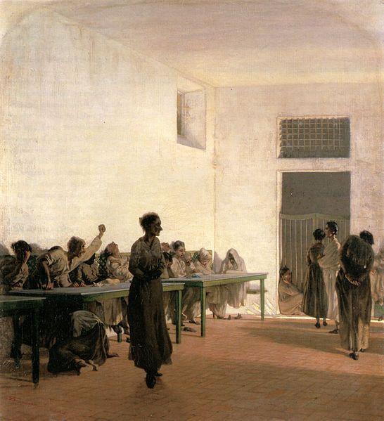 Telemaco Signorini; La sala delle agitate al Bonifacio di Firenze; 1865; olio su tela; Ca' Pesaro, Venezia.