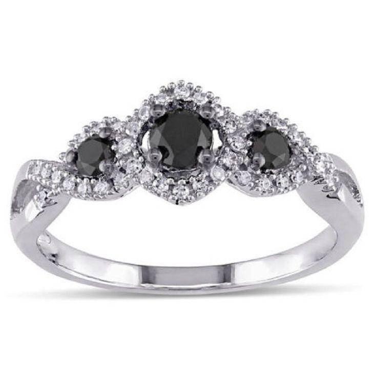 18k White Gold Elegant Black and White Diamond 3 Stone Wedding Ring  #GoldJewellery17 #Solitaire