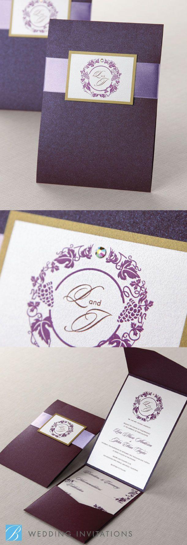 Grapevine Wreath I by B Wedding Invitations #wedding #invitations #weddinginvitations #bweddinginvitations #pocket #pocketinvitation #purple #purpleinvitation #grapevine #vineyard #winery #wreath