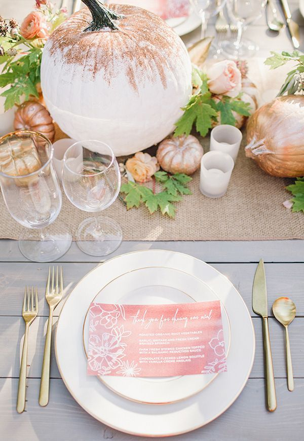 Rose Gold and Copper Autumn Table with Gilded Pumpkins | Megan Robinson Photography | Mixed Metallic Wedding Ideas for Fall!