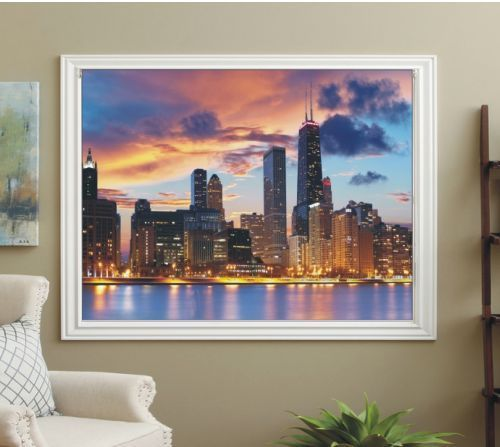 BLACKOUT PHOTO ROLLER BLINDS, PICTURE BLINDS SKYSCRAPERS OVER RIVER