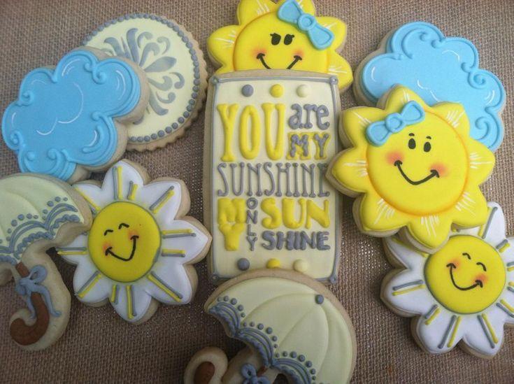 Sunshine, cloud, & umbrella cookies by Brenda's Bake Shoppe