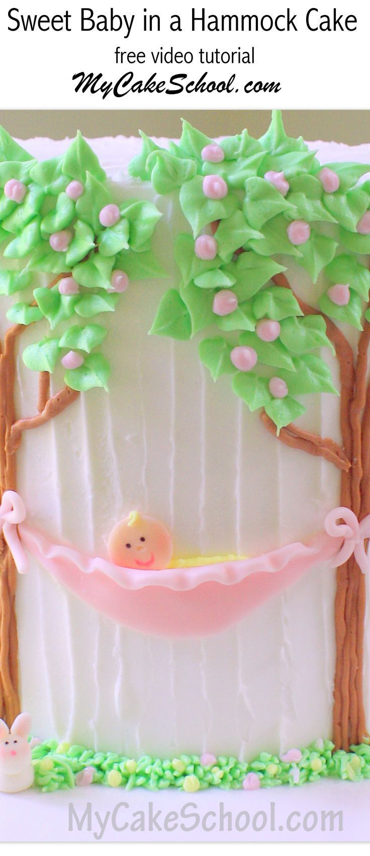 ADORABLE Baby in a Hammock Cake Design by MyCakeSchool.com! Free Cake Decorating Video! My Cake School Online Cake Tutorials, Cake Videos, Cake Recipes, and More!  #hammockcake #babyshowercake #caketutorials #mycakeschool