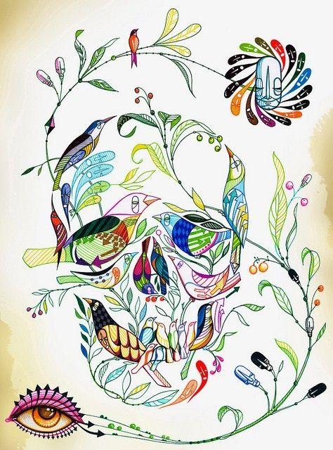 skull tattoo made of flowers