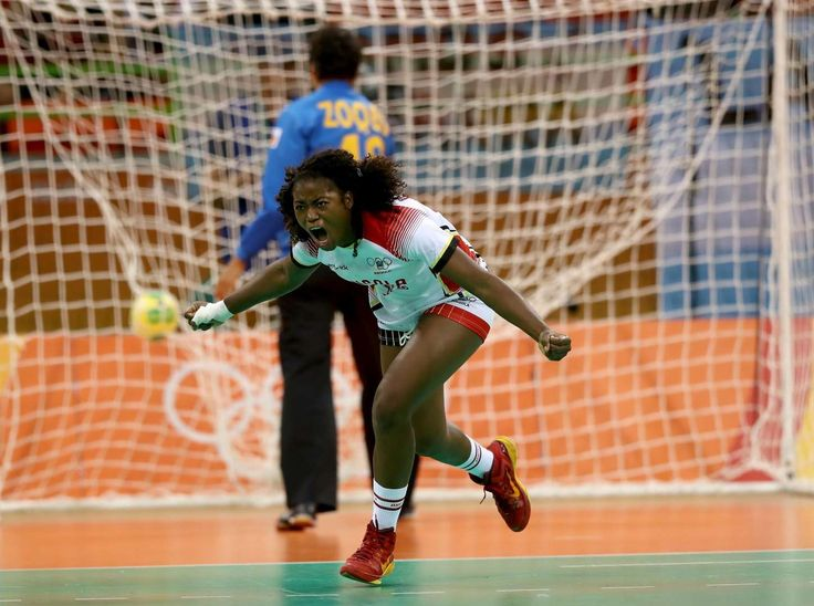 Watch as I fly!         Isabel Evelize W. Guialo of Angola celebrates her goal against Spain during the women's handball event. The Spaniards narrowly edged out Angola 26-22.      -  2016 Rio Olympics: Highs and lows from Day 9