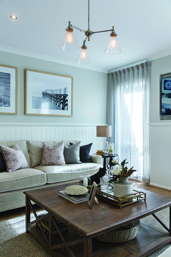 Lounge on the Vancouver display home with a Classic Hamptons World of Style.