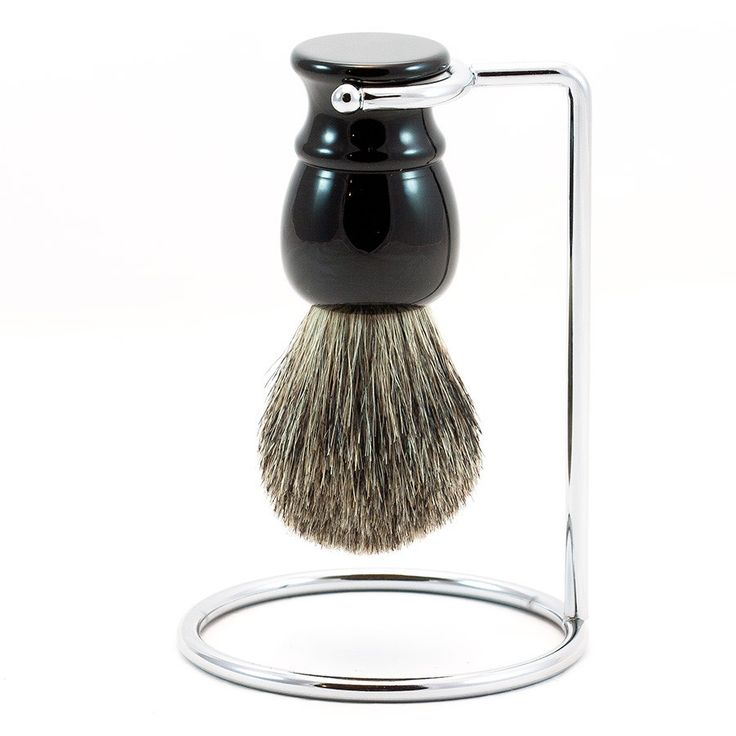 Pure Grey Badger Shaving Brush and Metal Stand, Black Handle