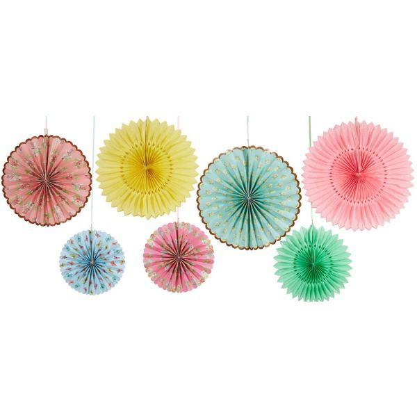 Floral Tea Party Paper Fan Decorations 7ct