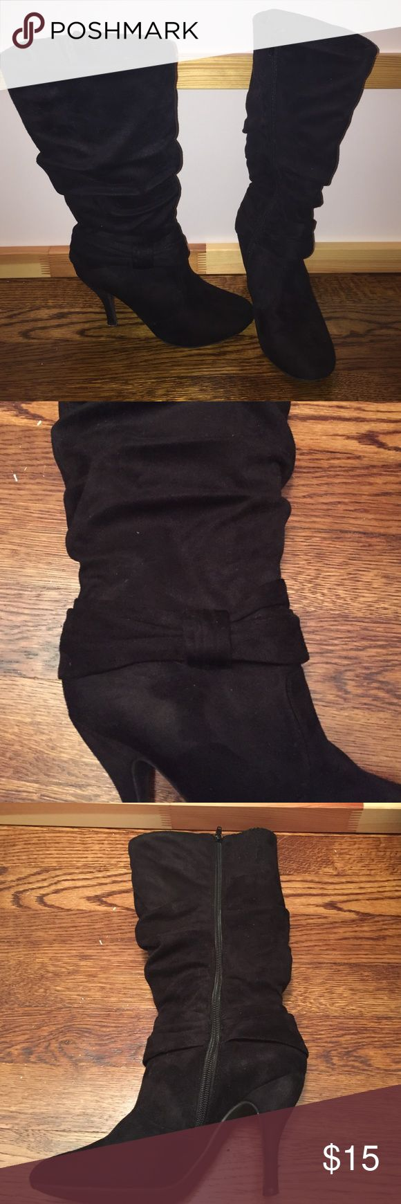 Charlotte Russe calf high boots Suede type material. Worn. Couple marks on back left heel. Believe they're a size 6. Can't locate size on or inside boot. Charlotte Russe Shoes Heeled Boots