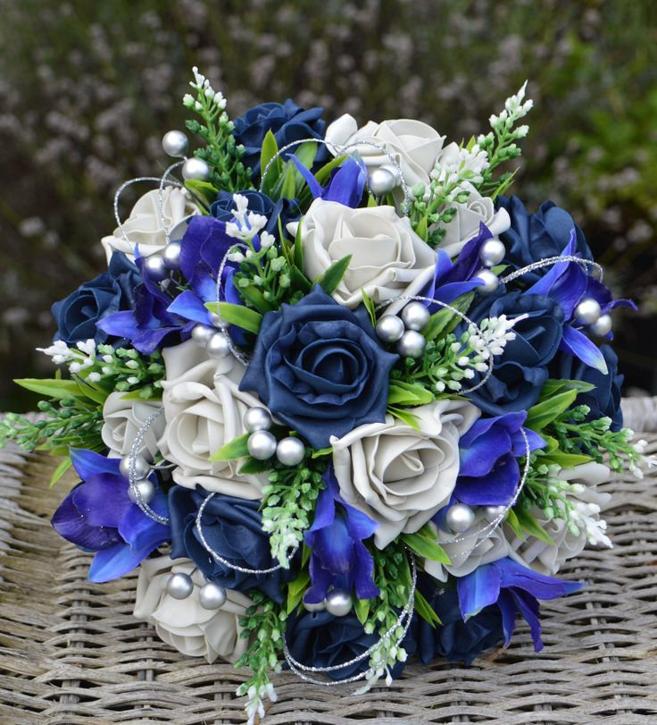 Navy Blue And Silver Wedding Ideas: Special Order Bouquet For Tanya's Winter Wedding, Navy