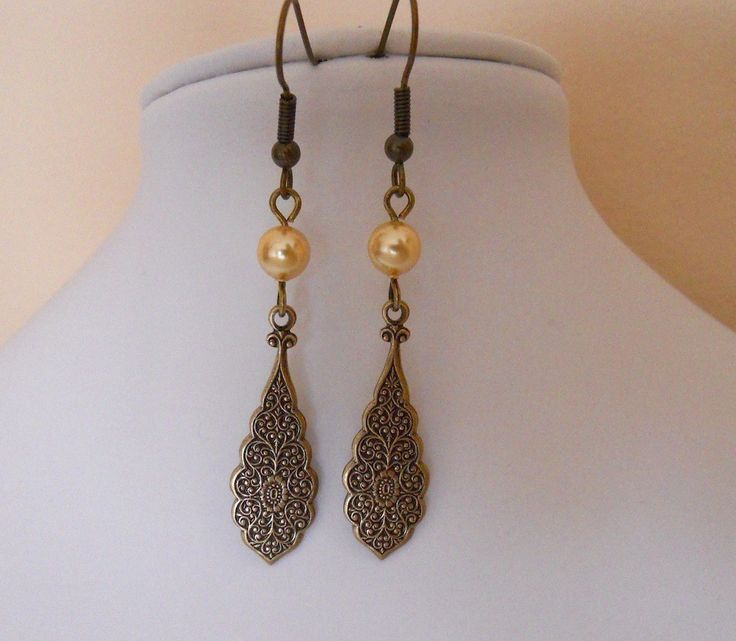 Vintage Lace Drop earrings dangle light golden  pearls Brass lace Cluster Free Shipping Gift  wedding earrings 17.00 USD Available at http://ift.tt/1NM3wVS