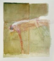 """Betty Goodwin Swimmers series """"Swimmer No. 3"""" 1983 graphite, chalk pastel, oil pastel, and diluted oil paint on wove paper"""