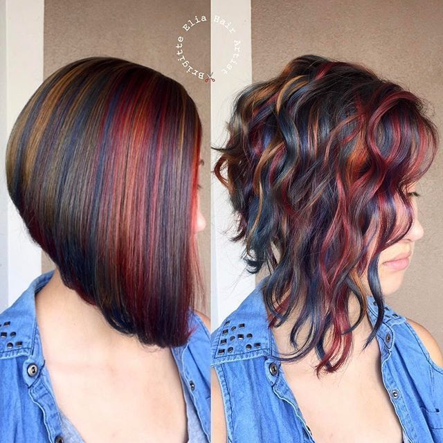 """""""This was a fun project"""" Loving this color arrangement, the sleek and the waved … which one do you prefer ? Haircut and colored by…"""