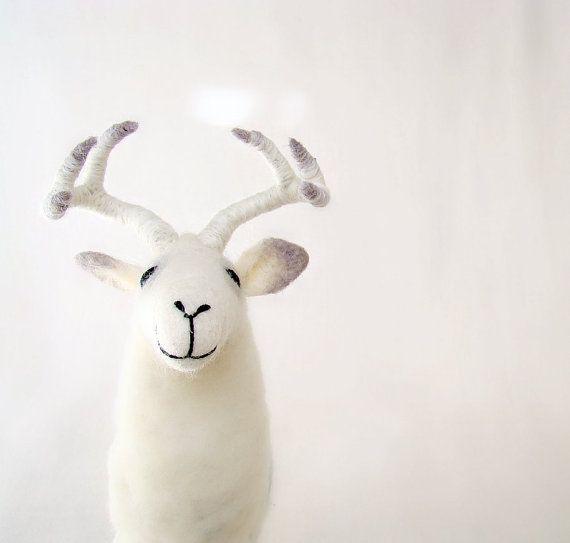 White Torsten  Felt  Deer  Art Puppet Marionette by TwoSadDonkeys, $72.00