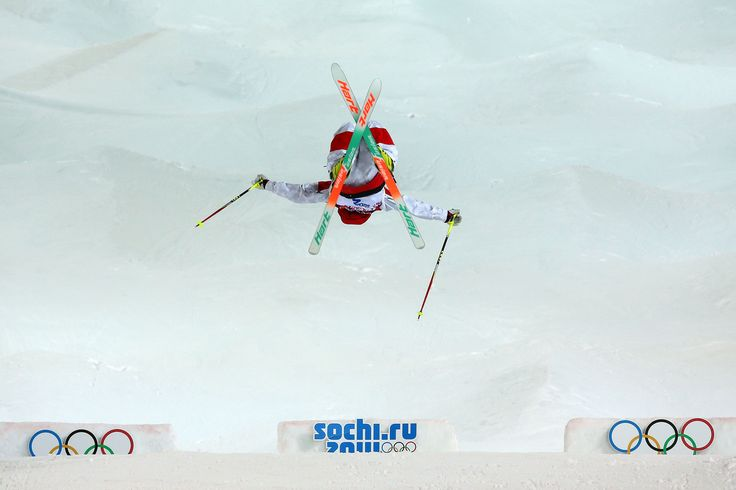 SOCHI, RUSSIA - FEBRUARY 08: Chloe Dufour-Lapointe of Canada competes in the Ladies' Moguls Final 1 on day one of the Sochi 2014 Winter Olympics at Rosa Khutor Extreme Park on February 8, 2014 in Sochi, Russia. (Photo by Mike Ehrmann/Getty Images)