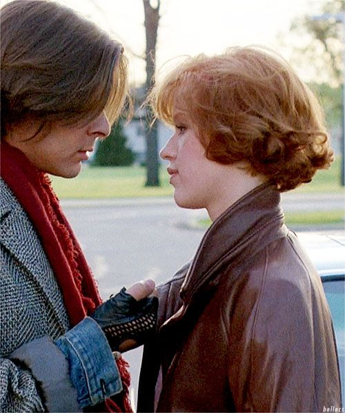 Behind the scenes: movie still from The Breakfast Club with Judd Nelson and Molly Ringwald