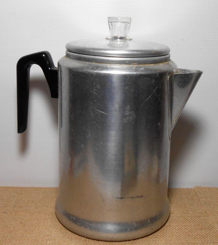 Vintage Coffee Pot, Gentury, Coffee Percolator, Aluminum Ware, Kettle, Camping Gear, Rustic, Coffee Maker, Farmhouse Decor, Vintage Kitchen by TheBackShak on Etsy