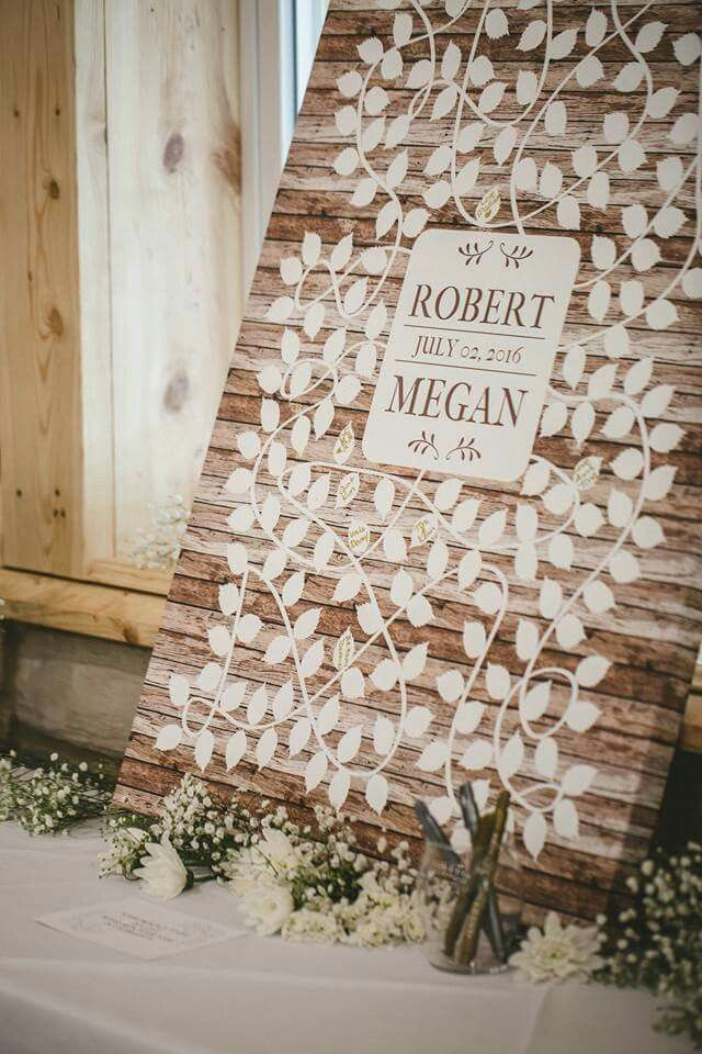 Cool idea (not mine found on Facebook) for wedding guests to sign.