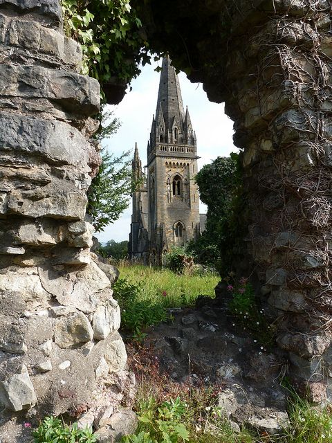 Llandaff Cathedral, Cardiff, Wales, begun in the 12th century, photo by Glass Angel on Flickr
