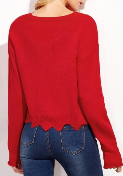 517c8de6d Red Wavy Edge Round Neck Long Sleeve Pullover Sweater