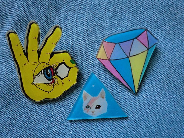 Специальный японский Harajuku rowky молния алмазов глаз конфеты ulzzang кошка брошь Звезда значок место - Taobao