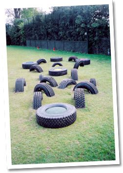 Use old tyres to make a temporary obstacle course. Change it and try hopping…