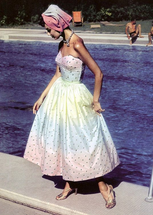 1955 Anne St. Marie, photo by Jerry Schatzberg, New York City mid 50s movie star hollywood glam pastel strapless dress cocktail party gown pink blue yellow portrait full skirt