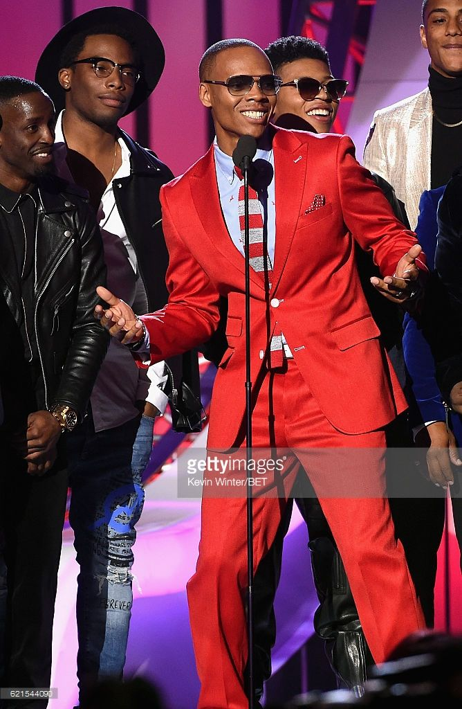 Singer Ronnie DeVoe of New Edition (C) with cast members of BET's 'The New Edition Story' speaks onstage during the 2016 Soul Train Music Awards on November 6, 2016 in Las Vegas, Nevada.