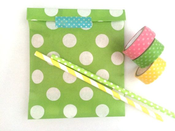 Green dot Paper bags Gift bags packaging by Dotscutesupplies