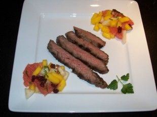 Grapefruit-Marinated Steak with Asian Jeweled Fruit Recipe. Grapefruit marinated steak is my FAVORITE
