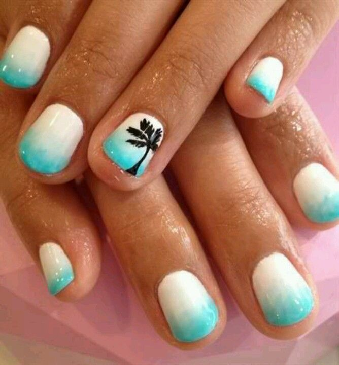 Beautiful turquoise and white ombré PalmTree Nail art!!! Great for SUMMER :)