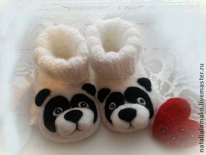 """Пинетки """"Пандочки"""" - чёрно-белый,пинетки в подарок,пинетки валяные,новорожденным"""