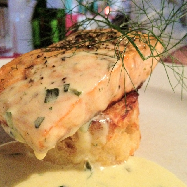 Scottish salmon atop potatoes with Bernaise sauce