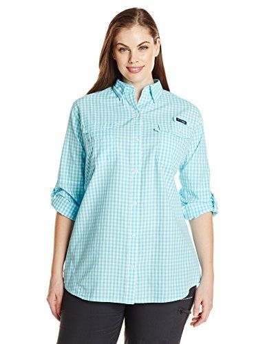 Columbia Women's Plus Super Bonehead II W Long Sleeve Shirt, 1X, Coastal Blue Gingham. Vented in back. Roll-up sleeves. Rod holder on chest.