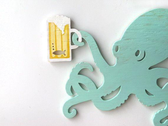 Octopus beer wood sign beach ocean bar dining by seasawsign