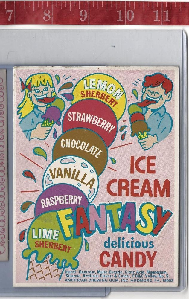 Vintage vending machine display Ice Cream Fantasy candy card FREE SHIPPING