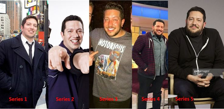 Sal Vulcano through the seasons of Impractical Jokers. Probs looked his best around 3/4, and the beard is a little too long for me atm in season 5: but Sally, you're adorable - don't ever change xx