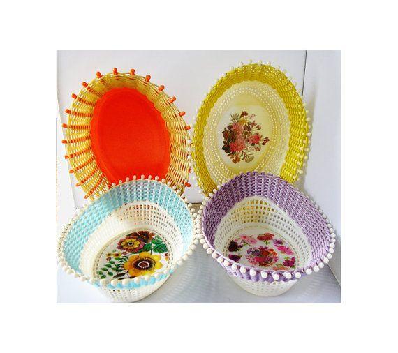 4 Fruit Baskets Bowls Plastic Wicker 1950s by TheIrishBarn on Etsy