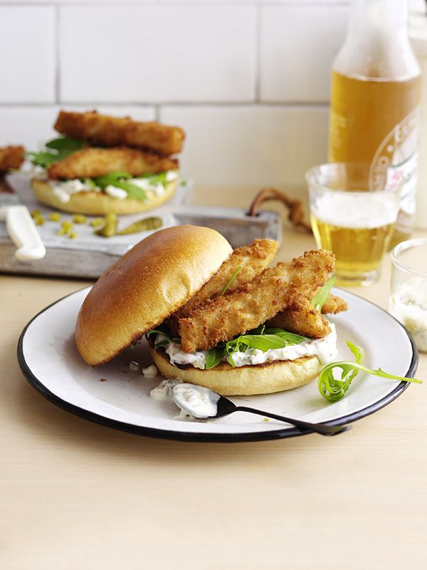 Posh fish finger sandwiches - Nothing beats a fish finger sandwich. We've added homemade tartare sauce, brioche buns and peppery rocket to posh this version up