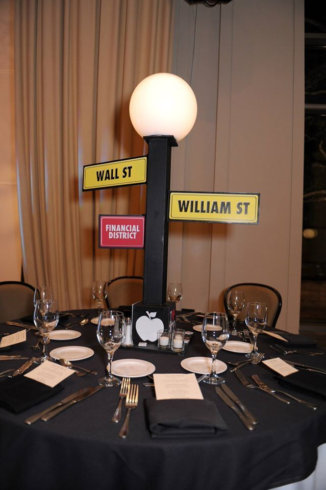 Centerpiece for NYC Theme party - Street Light with street names/district signs (made by Events by Amy)