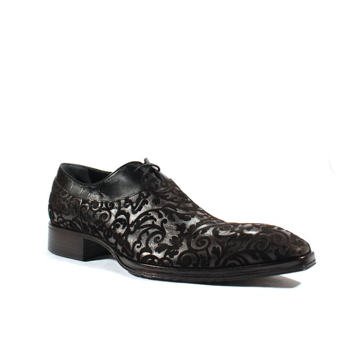 Jo Ghost Mens Shoes Gota Floc Nero Leather / Suede Oxfords (JG1906)