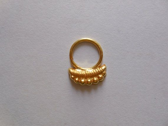 Beautifull Gold Filled Septum ring For Pierced Nose- Decorated indian nose ring- very cute nose hoop- Nose bali-Gold nose jewellry