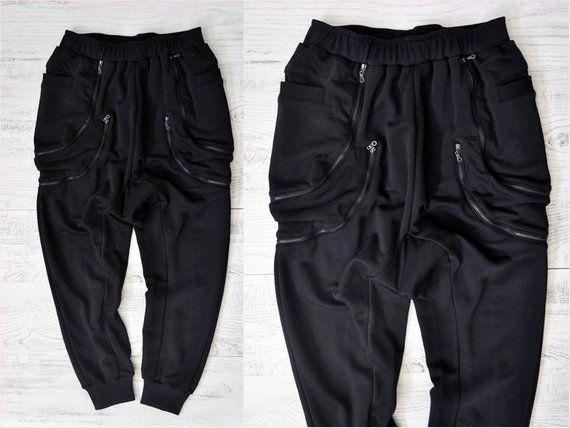 Men/'s Overall Cotton Goth Pocket Harem Hip Hop Cargo Trousers Sweatpants Black #